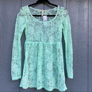 Kirra Pacsun Long Sleeve Pale Green Lace Top XS